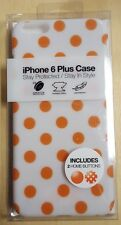 Gems iPhone 6 Plus Case White With Orange Polka Dots Cover Multi-Color 5E