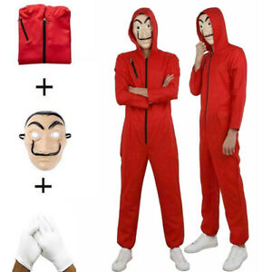 Salvador Dali Money Heist La Casa De Papel Jumpsuit Party Halloween Costume Mask
