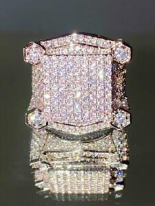 Mens Bling Ring Ice Out 2.5ct Iced Diamond 14k White Gold Pinky Rings size 6-10
