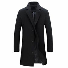 Vintage Men's Trench Coat Winter Warm Long Jacket Single Breasted Overcoat Coat