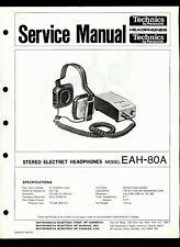 Technics/Panasonic EAH-80A Stereo Electret Headphones Factory Service Manual