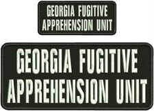 GEORGIA FUGITIVE APPREHENSION UNIT EMB PATCH 4X10 AND 2X5 HOOK ON BACK BLK/WHITE