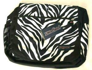 Jansport Black White Laptop Satchel Carry on Bag Elefunk Zebra Animal Print NWT