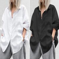 Womens Long Sleeve T Shirt Lapel Shirt Oversized Plain Tops Tunic Ladies Blouse