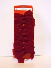 10 Red Flocked 3.5 Inch Bows Christmas Crafts Tree Package Decoration