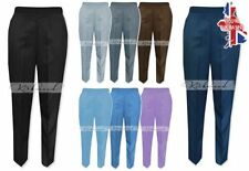 Polyester Straight Leg Mid Rise Trousers for Women