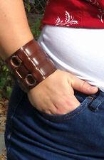 Boho Punk Men Women Wide Genuine Leather Belt Bracelet Cuff Wristband Bangle OS