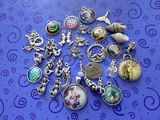 I'm Really a Mermaid Charms:34 Mermaids in Cameos,On Rocks, Posing, +2 Seashells