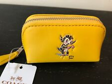 NWT Coach x Baseman Buster Le Fauve Cosmetic Case 9 Yellow