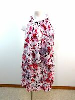 $158 NWT SLNY WOMENS PINK & WHITE CHIFFON SLEEVELESS DRESS SIZE 8