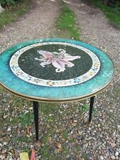 1950s Vintage Melamine Round Coffee Table Orchid Design Atomic Dansette Legs