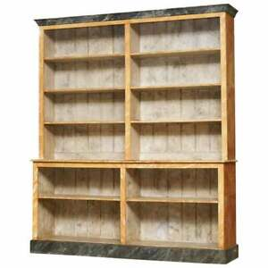 STUNNING ORIGINAL PITCH PINE VICTORIAN LIBRARY BOOKCASE ORIGINAL MARBLE PAINT