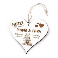 Schild Herz Spruch - Hotel Mama & Papa Alles Inklusive  Gravur Türschild 13x12cm