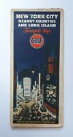 New York City Nearby Counties & Long Island Tourguide Map Gulf Oil Vintage