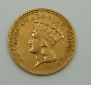 1854Three Dollar Indian Gold Coin $3 -  XF Cleaned (759)