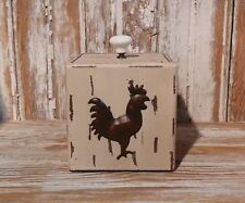 Primitive WHITE Painted Wooden Box ROOSTER for Cottage or Country Home Decor
