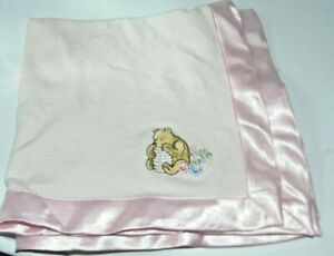 Classic Pooh Pink Stripes and Satin Security Blanket Lovey