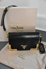 Prada Black Leather 100th Anniversary Heritage 2 way Clutch Shoulder Bag Rt$2800