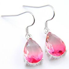 Pink Watermelon Bi Color Tourmaline Gemstone Silver Dangle Drop Earrings