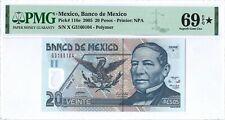 Mexico 20 Pesos 2005 PMG 69 EPQ* s/n G3160104 Serie X POLYMER