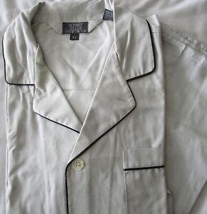 Vintage Bonwit Teller Pajamas PJs Set Black Trimmed Gray Oxford Cotton Men's XL
