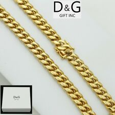 """Miami Cuban Curb Chain Necklace*Box Dg Men's Gold.Stainless-Steel 30""""x 12mm"""