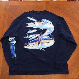 Guy Harvey Wahoo Mens Back Print Long Sleeve T-Shirt XL Navy w Pocket Fishing