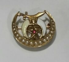 Antique 1890's Shriners 14k Gold Ruby & Seed Pearls Pin