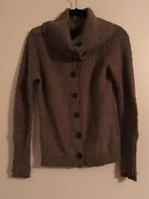 Magaschoni Brown & Silver Button Up Cardigan Sweater, Size Small