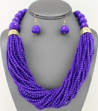 Multi Strand Purple Small Faceted Lucite Acrylic Bead Chunky Necklace Earring