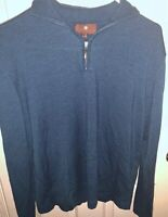 TOSCANO Large 1/4 Zip Merino Wool Blue Mens Pullover Sweater Shirt Long Sleeve