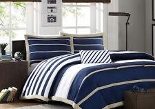 Blue, White & Khaki Full Queen Comforter, Shams & Toss Pillow (4 Piece Bedding)