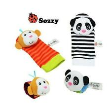 Sozzy Infant Soft Wrist Rattle & Foot Finder Set, Panda/Monkey