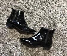 Nine West Black Patent Leather Flat Chelsea Ankle Boots Sz 4/ 37 Excellent Cond
