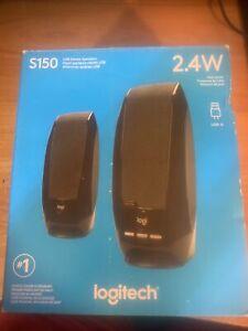 Logitech S-150 USB Stereo Speakers 2.4W Computer Speaker System - Black - NEW