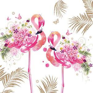 4 x Single Paper Napkins/3 Ply/Decoupage/Flowers/Birds/Floral Flamingo
