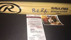 Brendan Rodgers Rockies Autographed Signed Engraved Bat JSA WITNESS COA Blonde