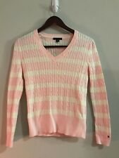 Tommy Hilfiger V-Neck Women's Cable Knit Long Sleeve Pullover Sweater (Pink, Sm)