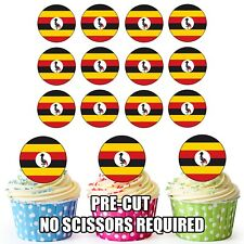 24 Circle Uganda Flags - Cup Cake Toppers Decorations Party Birthday