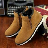 Mens Winter Shoes Ankle Snow Boots Furry Lined Inside Warm Zipper Casual Shoes