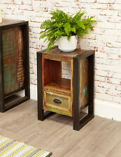 Urban Chic Furniture Reclaimed Wood Lamp Table Bedside Cabinet Steel Frame
