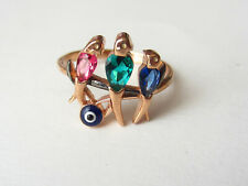 Rose Gold 925 Sterling Silver Turkish Jewelry Emerald Ruby Birds Ring Size 8