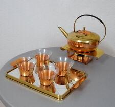 Kupfer Messing Glas Grog Teeservice 13 teilig für 4 Personen mid Century 50er J.
