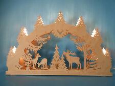 original Erzgebirge Schwibbogen Lichterbogen 3D Rehe Waldmotiv 7 Kerzen doppelt