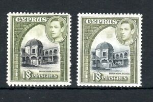 Cyprus 1938-51 18pi + 1947 18pi colour change MLH
