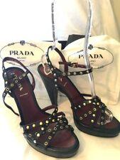 "NIB Prada 5"" Lux Metal Black Leather Strappy Grommet Stud Platform Heels US 8.5"