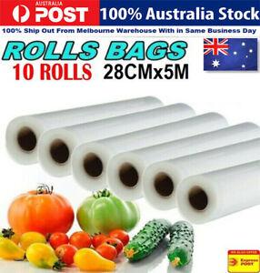 Upto10 Vacuum Food Sealer Bag Seal  Saver Storage Commercial Heat Grade 28cm x5m