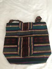 Small Black Beach Mexican Hippie Baja Tote Ethnic Backpack Bag Blanket Hipster