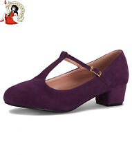 Collectif Lulu Hun Chrissie Shoes Mary Jane Purple T-Bar Vintage Style