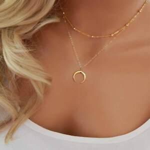 Fashion Charm Jewelry Pendant Chain Moon Choker Chunky Statement Bib Necklace